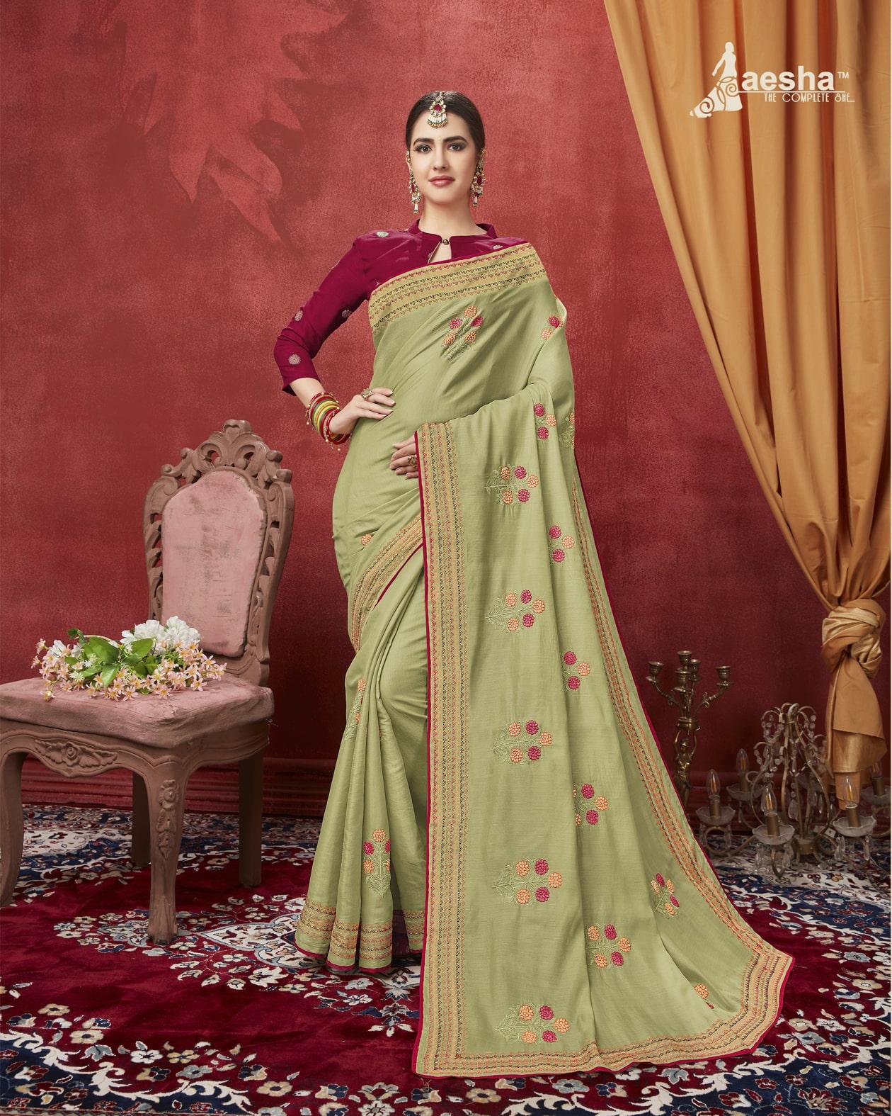 Embroidered Tussar Silk Saree