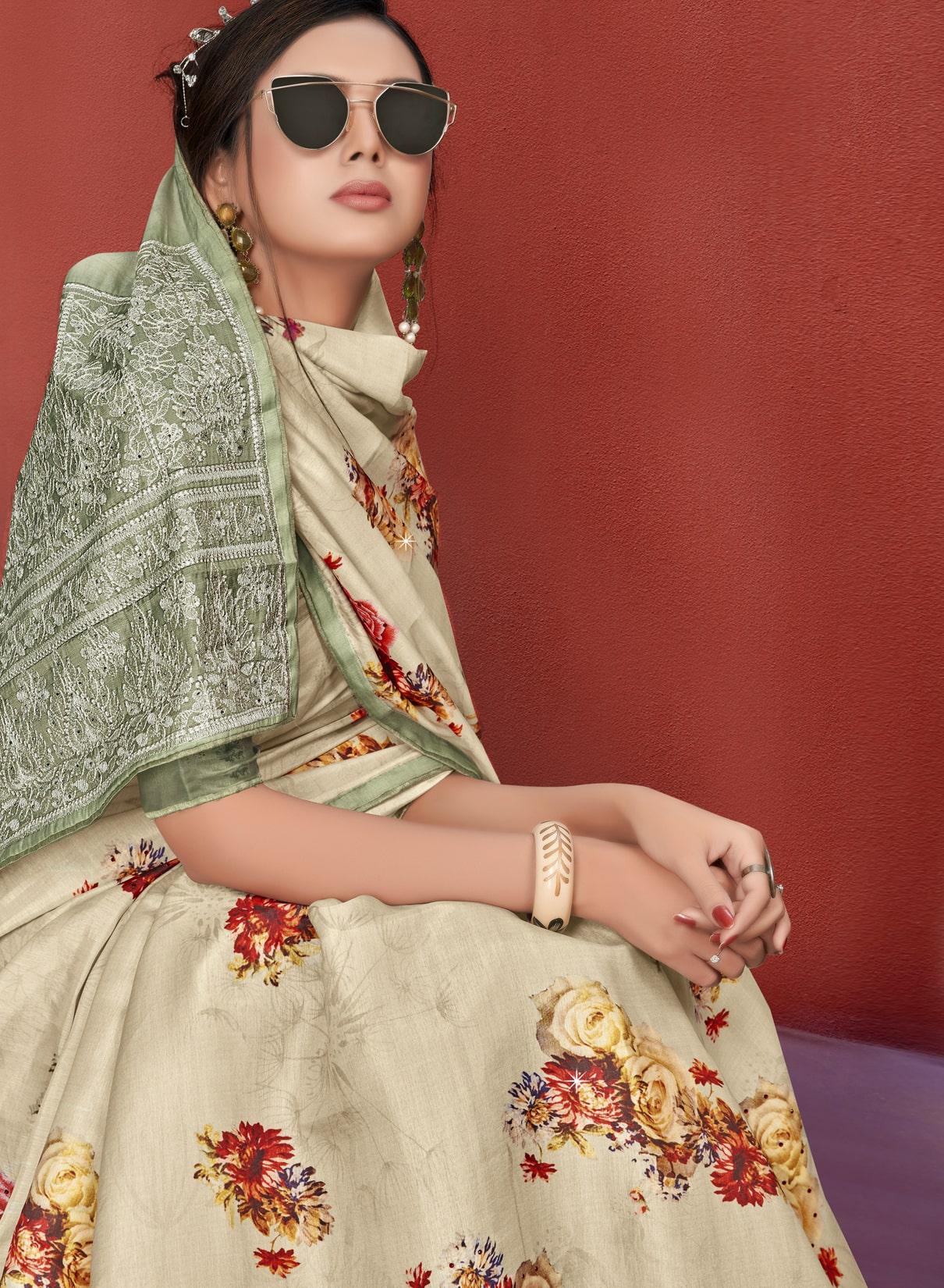 Floral Printed Digital Saree