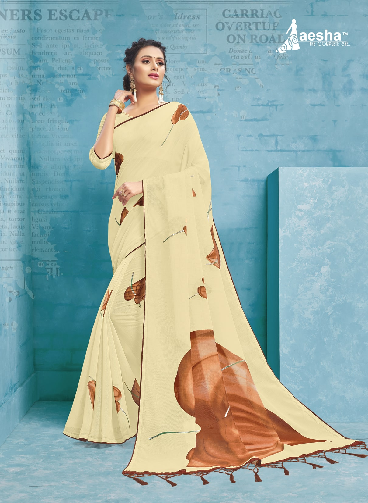 Fancy Printed Linen Saree