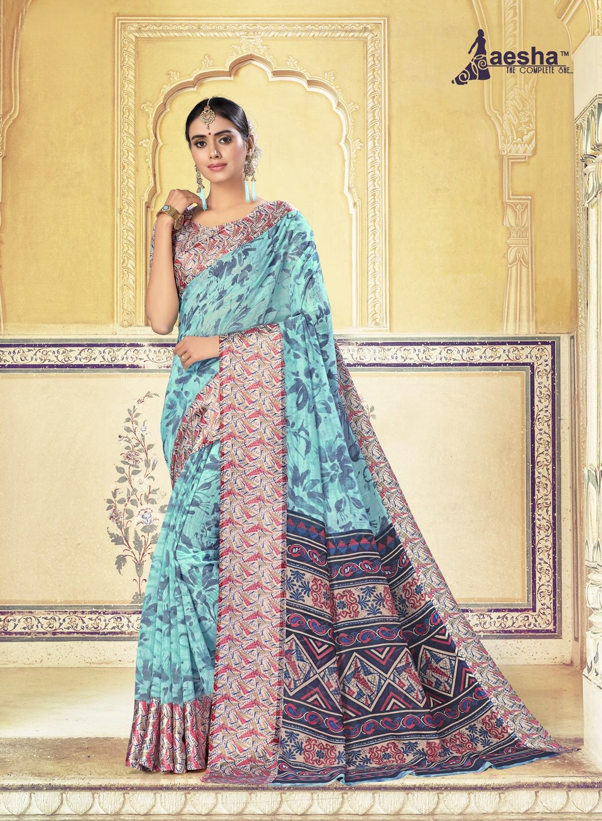 Fancy Printed Cotton Linen Saree