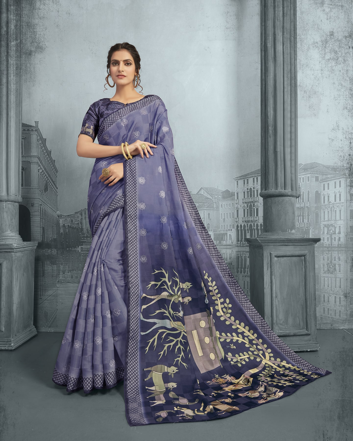 Embroidered Kalamkari Printed Saree